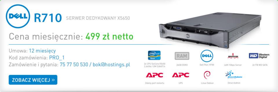 Hostings.pl - Profesjonalny serwer Dell R710 z procesorem Intel Xeon X5650 za 499zł